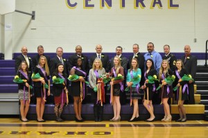 Photo by Ellie Richmond Central High School's Homecoming princesses stand proudly with their fathers, from left, (front row) Samantha Bishop, Megan Dech, Savannah Mills, Yolanda Bell, Queen Cara Williams, Brittany Usry, Hannah Hankley, Ashley Genova, Brittany Tomlinson, Fallyn Hawks; (back row) Robby Bishop, Scott Wortham, Ricky Mills, Oscar Johnson, Todd Williams, Travis Usry, Scott Hankley, Kevin Genova, Chris Tomlinson and Brian Hawks.