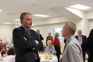 Hurt (left) spoke with Pittsylvania County Administrator Clarence Monday (right) at Pittsylvania County's Farm Bureau Annual Dinner.