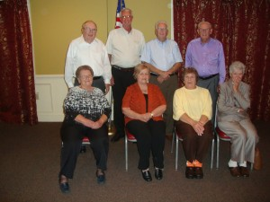 Pictured are 1959 class members, from left, (front row) Lucy Brooks Gwaltney, Geneva Wallace Thompson, Virginia Mayton, Donna Hancock; (back row) Kenneth McDaniel, Charles Cheek, McCoy Crafton and Jamie Barker.