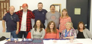 Photo by Titus Mohler Stephen Lambdin is surrounded by friends and family Saturday in Kenbridge. Pictured are, from left, front row, Jennifer Kaneshige, Naomi Lambdin, Sara Curley, Page Gioielli; back row, Wayne Lambdin, Trevor Brooks, Stephen Lambdin, Mark Gioielli and Nikki Baack-Brooks.